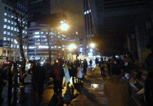 A smaller but boisterous protest outside the Education Ministry. Apologies for the dreadful photo.